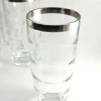 Silver Rimmed Glasses, Set of 4 Tapered Tumblers, Vintage Tall Clear Optic Bubble Glass Cocktail Drinking Glasses