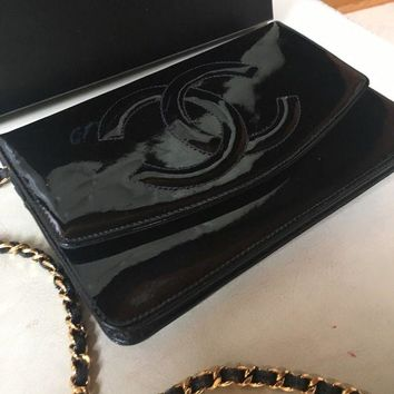 ONETOW CHANEL CC Timeless Black Patent Leather Chain WOC Wallet Bag