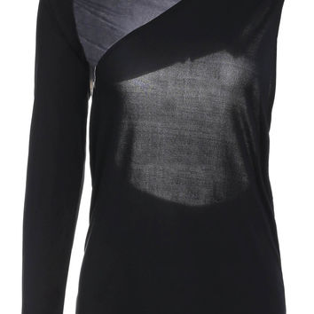 Black One-Shoulder Backless Body Fit Shirt