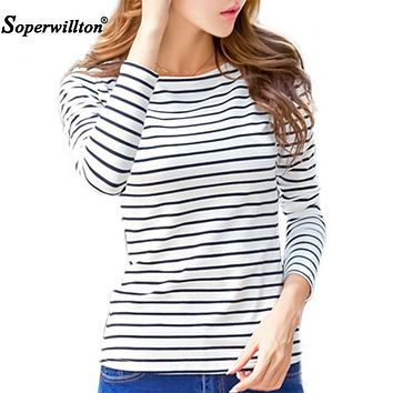 Soperwillton Cotton T-shirt Women 2018 New Autumn Long Sleeve O-Neck Striped Female T-Shirt White Casual Basic Classic Tops #620