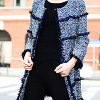 Long Sleeves Frayed Open Front Coat