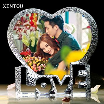 Crystal Glass Love Heart Photo Frame