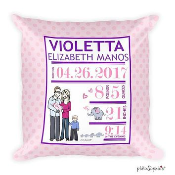 Growing Family Baby Announcement Pillow