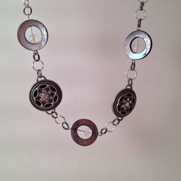 Steam punk gray gunmetal choker style statement necklace