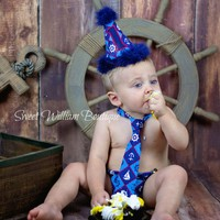 Nautical 1st Birthday Cake Smash Outfit - red and blue anchors hat, tie, and diaper cover