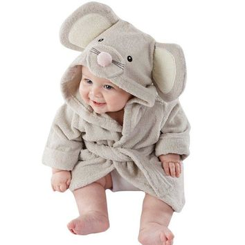 Hot sale Cute Cartoon Animal Baby Kids Hooded Bathrobe Bath Towel Cotton Bath Terry Bathing Robe