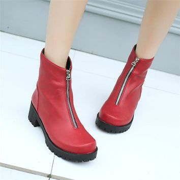 YMECHIC Female Chunky Block Heel Punk Platform Shoes Zipper Design Plus Size Gothic Ankle Motorcycle Boots for Women 2018 Winter
