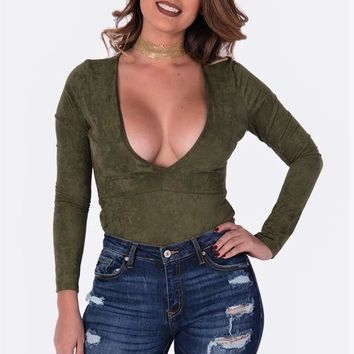 Solid Micro Suede Olive Bodysuit