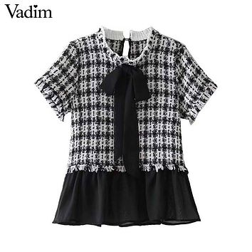 Vadim bow tie collar plaid tweed patchwork pleated shirts tassels ruffled ham short sleeve blouse casual tops blusas DT1315