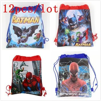 Batman Dark Knight gift Christmas 12pcs/lot Spiderman Cartoon New Backpack Non-woven Fabrics Back Pack Drawstring Batman Bags Spider Man Children School Bag AT_71_6