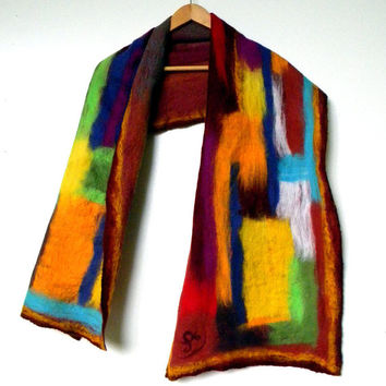 "Nuno Felted scarf Felted scarf Nunofelt scarf Art to wear Multicolor Abstract women scarf burgundy brignt scarf  gift for her 64"" /16,5 """