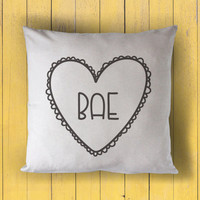 sweet hearts: bae - printed throw pillow - 5 sizes | valentine + love decor, valentines day