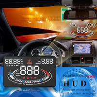 """US Stock! E300 5.5"""" Car Head Up Display HUD OBDII Speed Warning System 2D Reflect Display Car Accessories"""