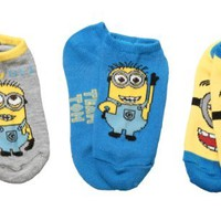 Despicable Me 2 Team Tom Minion Youth No Show Socks - 3 Pack