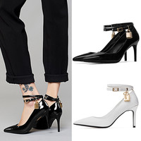 Summer Leather Pointed Toe High Heel Stylish Star Shoes [6050209601]