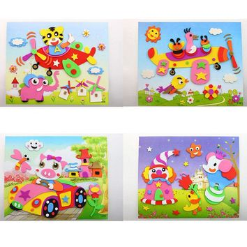 "New DIY Handmade 3D EVA Foam Sticker Cartoon Animal 8.27""*10.24""Puzzle Baby Leaning Educational Toys Kids Gifts"