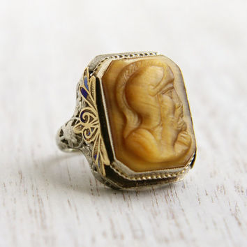Antique 14k White & Yellow Gold Cameo Ring - Art Deco Blue Enamel Filigree Size 4 1/2 Carved Tigers Eye Warrior Jewelry / Roman Soldier