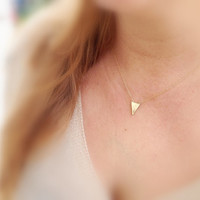 Triangle gold necklace, Gold necklace, small gold necklace, tiny gold necklace, petite, delicate necklace -536