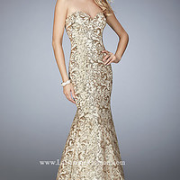 Gold Long Lace Strapless Prom Dress by La Femme