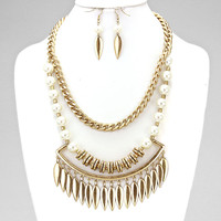 Tribal Gold & White Pearl Metal Leaf Statement Necklace