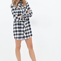FOREVER 21 Plaid Flannel Shirt Dress Black/Cream