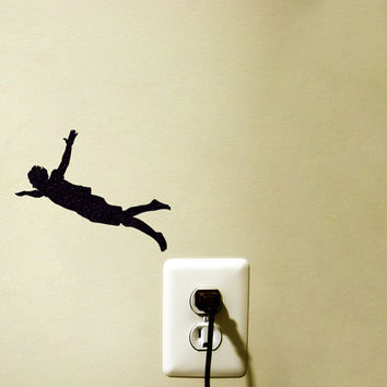 Jumping Man Light Switch Fabric Sticker - Flying Man Wall Decal - High Jump Laptop Sticker - Silhouette  Macbook Decal - Gift For Teen