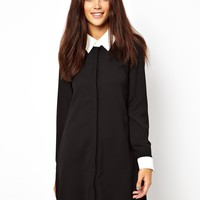 Glamorous Swing Shirt Dress With Contrast Collar And Cuff at asos.com