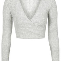 Long Sleeve Ballet Wrap Top - Grey Marl