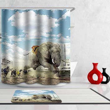 Homing Sky City Dog Elephant Polyester Waterproof Mildew Resistant Shower Curtain Modern Cozy Bathroom Decor 12 Hooks Crafts