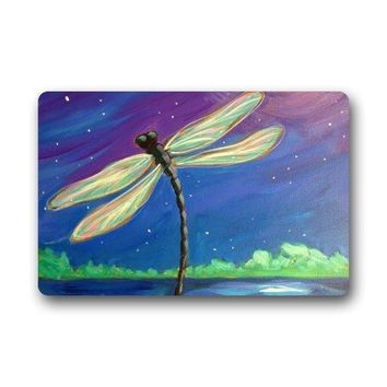 Art Dragonfly Under the Beautiful Night Sky Non-slip Doormat, Door Mat Rug Indoor/Outdoor/Front Door/Bedroom Mats