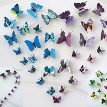 3D Butterfly Design Decal Wall Stickers Home Decor Room Decorations 9 color