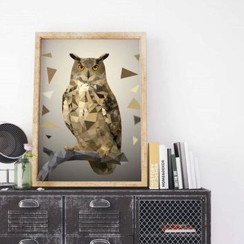 Geometric Owl Painting Poster Art Print Canvas Print Wall Decor