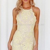 Inka Lace Dress (Yellow) | Xenia Boutique | Women's fashion for Less - Fast Shipping