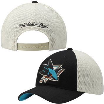 San Jose Sharks Mitchell & Ness Meshback Slouch Adjustable Hat - Black