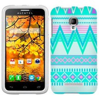 Alcatel OneTouch Fierce Aztec Andes Tribal White and Teal Pattern Phone Case Cover