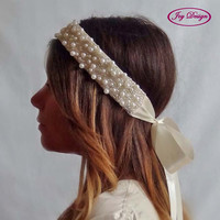 PEARL is a Pearl and Beaded Bridal Headband wear as a traditional headband or boho forehead sash perfect for any special occasion
