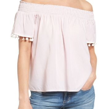 Love, Fire Smocked Check Off the Shoulder Top | Nordstrom