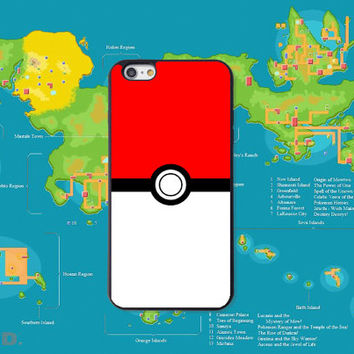 Pokeball, Pokemon inspired, Custom Phone Case for iPhone 4/4s, 5/5s, 6/6s, 6/6s+, iPod Touch 5
