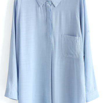 Textured Batwing Shirt in Blue Blue S/M