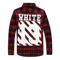 VIP Hip Hop Style Mens Red Tartan Plaid Shirts Long Sleeve Flannel Casual Lattice Skateboard Shirt Men PYREX WHITE 13 Camisa Social