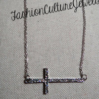 FashionCultureJewelry — Sideways cross Necklace in silver with Rhinestones