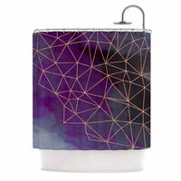 "Cafelab ""Watercolor Storm"" Purple Gold Shower Curtain"
