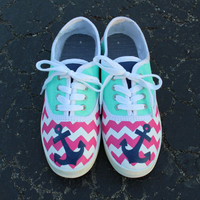 Cute Chevron and Anchor Pink and Blue Hand Painted Shoes
