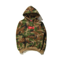 Street tide letters Box Embroidery seal Hooded hooded sweater coat Camouflage