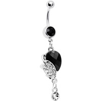 Dark Nature Lovely Leaves Crystal Drop Belly Ring | Body Candy Body Jewelry
