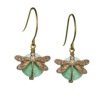 Dragonfly Earrings in Vintage Natural Brass with 10mm Amazonite Stone