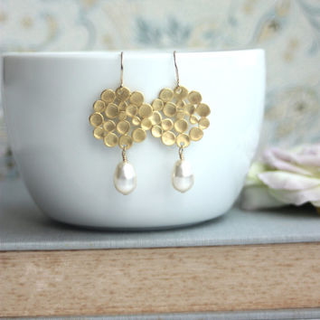 Gold Bubbles Earrings. Ivory Drop Pearl Earrings Honey Comb, Round Dots Drop. Modern Jewelry for Friends, Bridesmaids Gifts. Circle. Round.