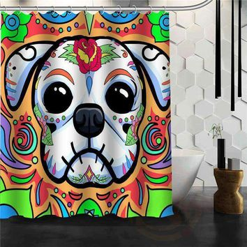 New Creative cartoon dog Shower Curtain Unique Design Hot Personalized Pattern Custom Bath Curtain Fabric Polyester Waterproof