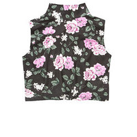 Red Label Black Floral Print High Neck Crop Top