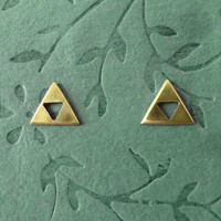 Zelda Triforce earrings by PicaPicaPress on Etsy